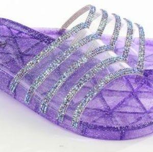 Purple Rhinestone jelly slides